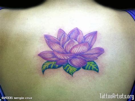 Superb Purple Lotus Tattoo On Back   Tattooshunter.com