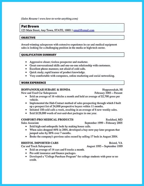 sle of a sales resume writing a clear auto sales resume