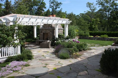 Flagstone Patio With Pergola by Flagstone Patio Patio Traditional With Plants Glass Doors