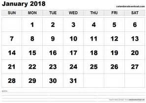Calendar 2018 Printable January January 2018 Calendar Monthly Calendar 2017