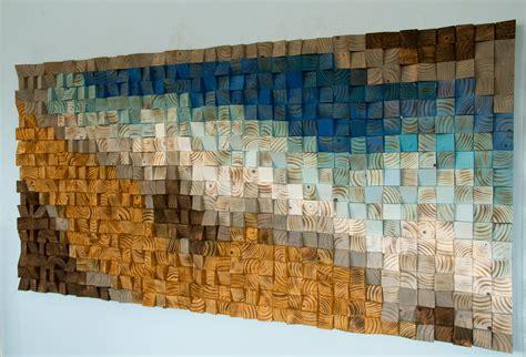 reclaimed wood wall art wood mosaic geometric art wood