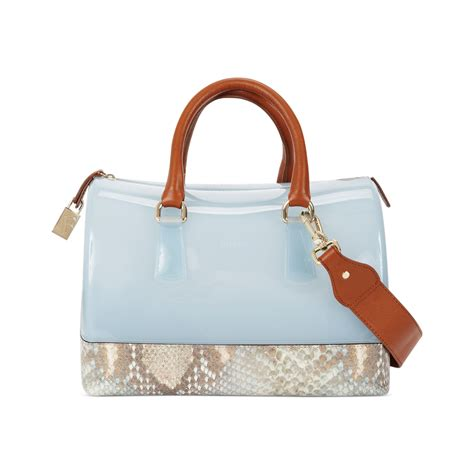 Furla Lattelier 2tone lyst furla two tone snake bauletto bag in blue