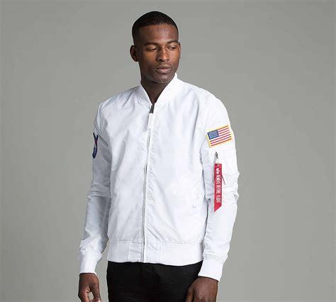 Bomber Bordir Jacket Martin Space Army alpha industries nasa reversible bomber jacket white footasylum