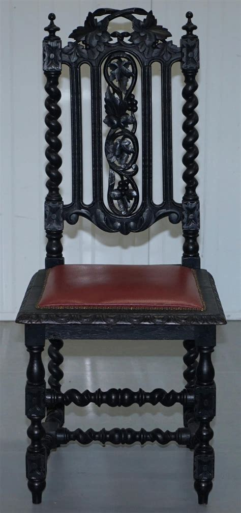 victorian carved oak dining chairs leather upholstery