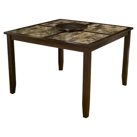 Table Capitola by Capitola Faux Marble Pub Table Espresso 18 Quot Lazy Susan