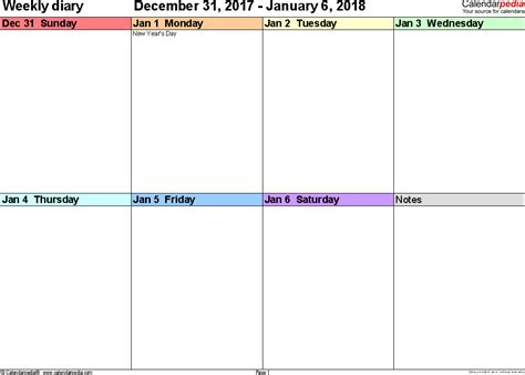 printable calendar 2018 by week weekly calendar 2018 printable weekly calendar
