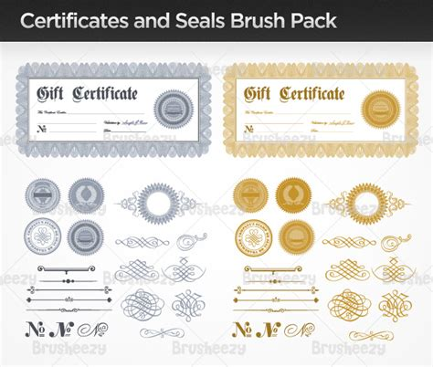 certificate design brushes photoshop certificates and seals brush pack free photoshop brushes