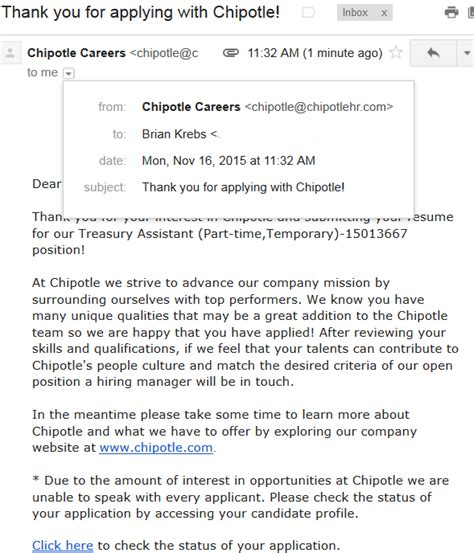 how to write email to hr for sending resume sle chipotle serves up chips guac hr email krebs on security