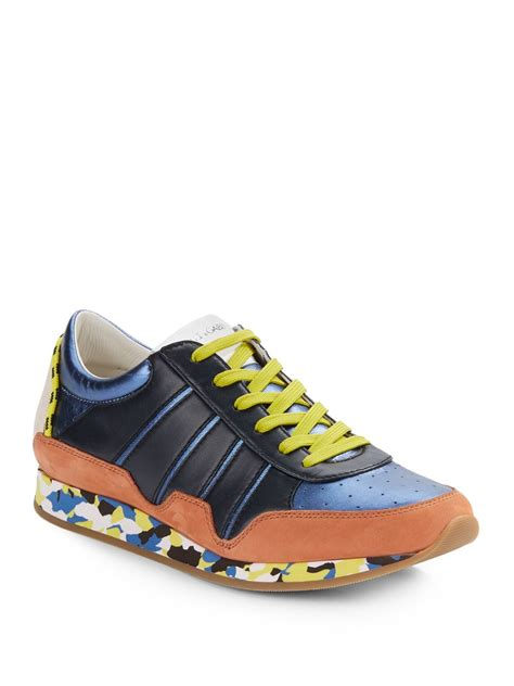dg shoes for dolce gabbana suede trim leather sneakers in orange for