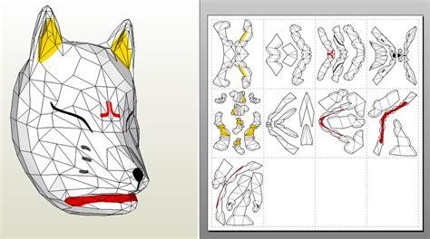 Kitsune Mask Papercraft - kunimitsu mask pepakura by gankutsu o taku on deviantart
