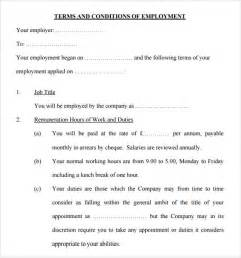 Employment Terms And Conditions Template sle terms and conditions 9 free documents