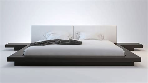 platform bed california king white leather and wenge brookline platform bed zuri furniture