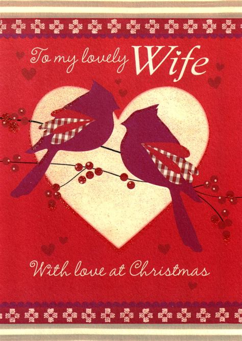 Christmas Gift Card Specials - to my lovely wife glitter birds christmas cards special xmas greeting card cards