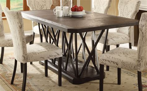 Rustic Chic Dining Table Jamon Rustic Chic 76 Quot Antique Black Wooden Top Dining Table W Metal Base