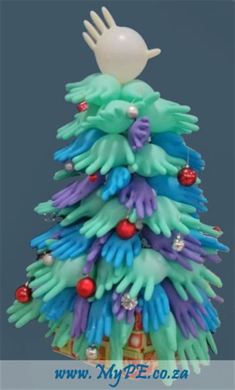 rubber glove christmas tree ensuring ho ho ho not no no no