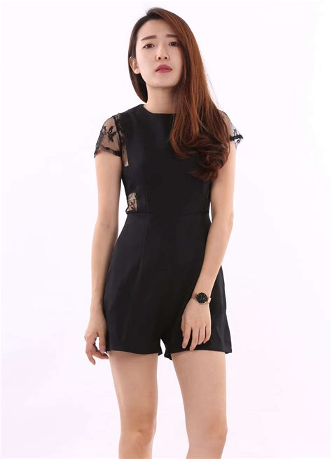 Lace Top Romper lace sleeved romper black s m l gt a spoonful of