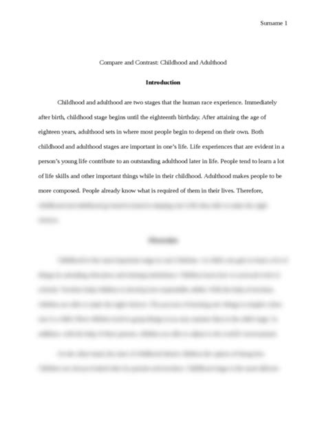 compare  contrast childhood  adulthood essay brokers