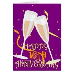 16th wedding anniversary chagne celebration greeting card zazzle