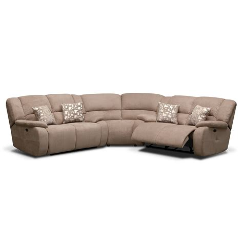 2 pc reclining sectional fortuna ii beige 3 pc power reclining sectional