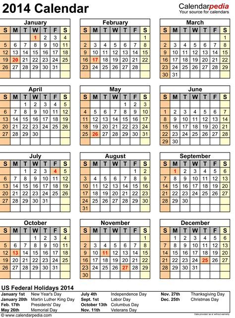 2014 Calendar With Holidays 2014 Calendar With Federal Holidays Excel Pdf Word Templates