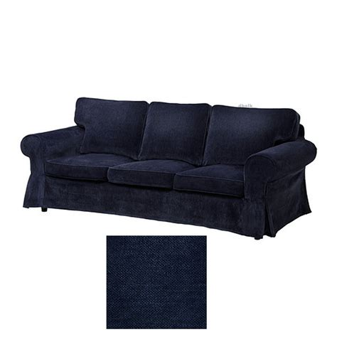 Ikea Ektorp 3 Seat Sofa Slipcover Cover Vellinge Dark Blue Slipcovers For Sofas Uk