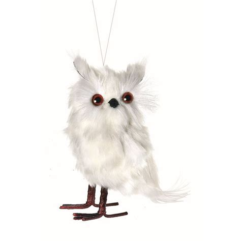 white feathered owl bird christmas ornament holiday