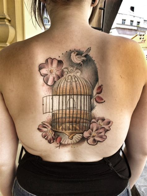small bird cage tattoo bird cage and flowers on back tattooshunt