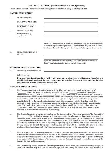 shared tenancy agreement template tenancy agreement templates free edit print
