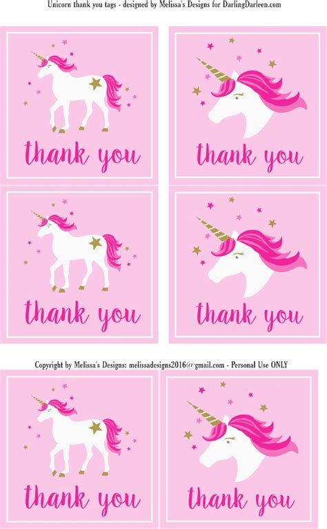 printable unicorn thank you tags unicorn thank you labels parties upbeat unicorns