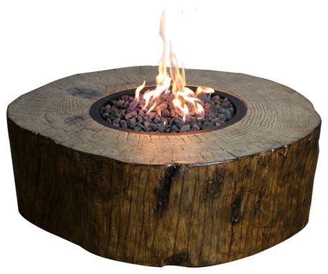 Burning stump fire pit natural gas rustic fire pits by patio garden and landscape co