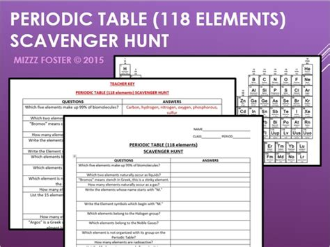 periodic table scavenger hunt answer key mizzzfoster s shop teaching resources tes
