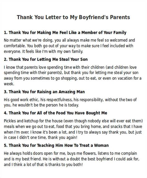 thank you letter boyfriend parents 5 sle thank you letter to my boyfriend sle templates