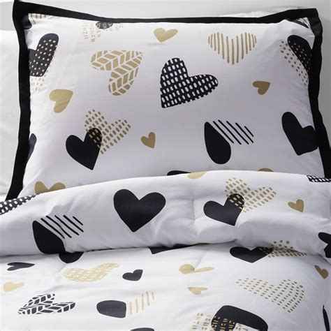 Hello Comforter Set by Hello Hearts Comforter Set Black White Pillowfort Target