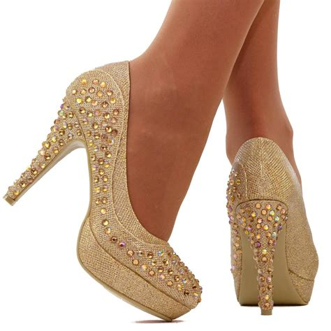 gold shoes size 3 womens size uk 7 gold platform high heels diamante