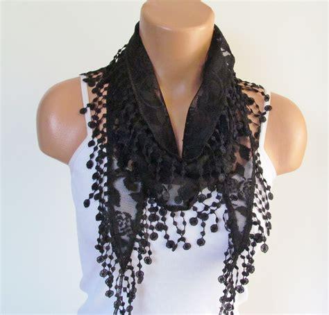black lace scarf with fringe new season scarf headband