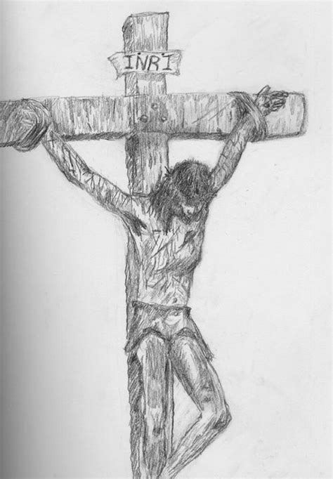 Jesus Crucified Drawn By Me By Skyofoctober On Deviantart Jesus On The Cross Drawings