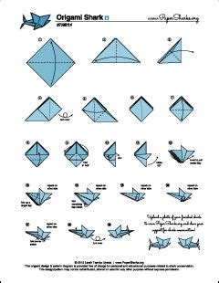 How To Make A Shark Out Of Paper - paper sharks pattern a origami shark folding diagram and