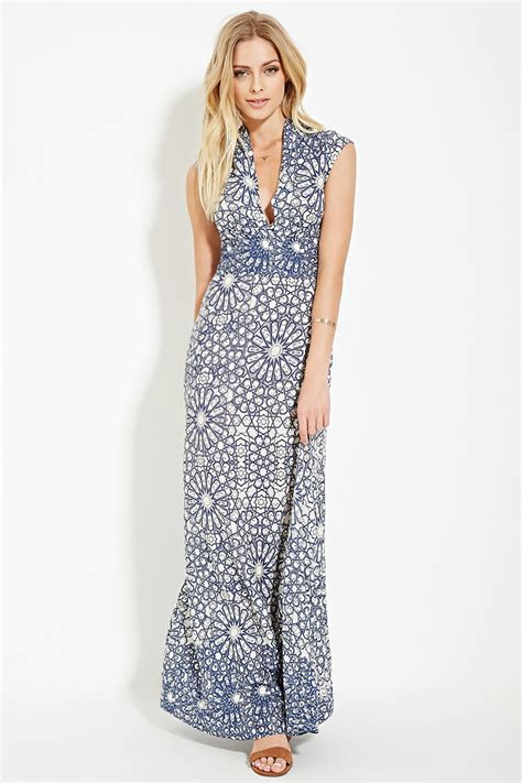 Dress Tille forever 21 contemporary tile maxi dress in blue lyst