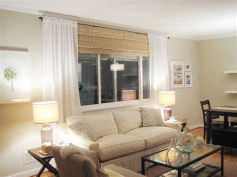 Shade Curtains For Living Room Make Your Picture Windows Look By Hanging Bamboo