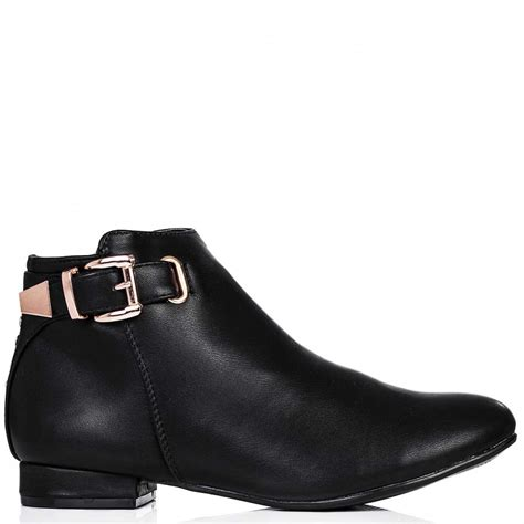 buy shirty flat buckle stud ankle boots black leather