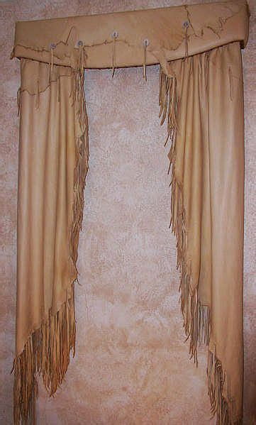 western curtains and valances western style fringed leather curtains and valance omg