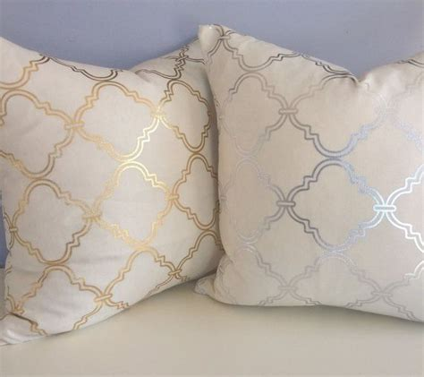 gold and silver pillows silver metallic quatrefoil pillow cover accent pillow