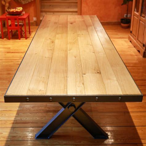 Ordinaire Table De Jardin Design #1: table-salle-a-manger-type-industriel-acier-bois-thiers.jpg