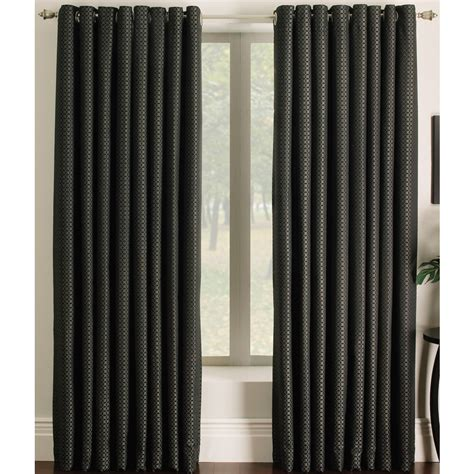 allen roth curtain panels shop allen roth sullivan 84 in l checked black grommet