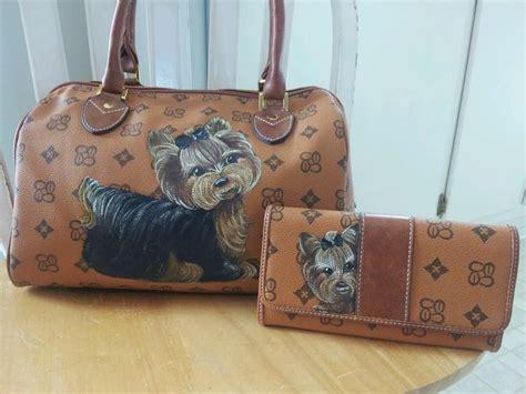 yorkie purse handpainted yorkie handbag w wallet painting purse missp