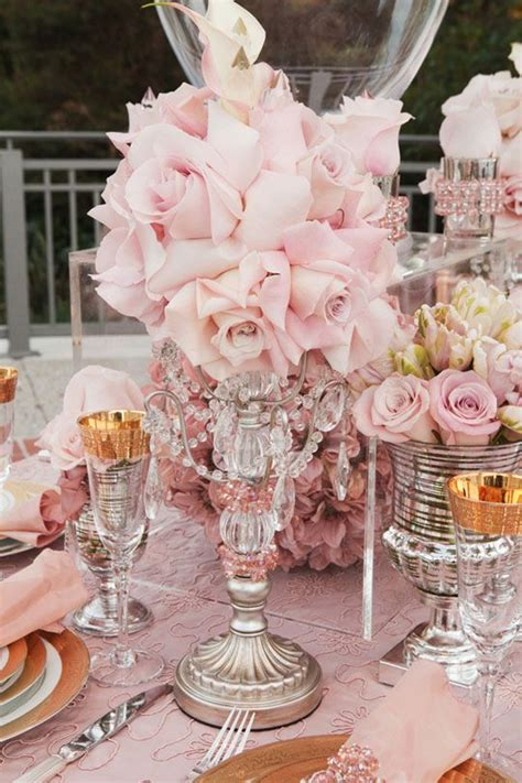 Pink And Gold Table Setting by Pink Gold