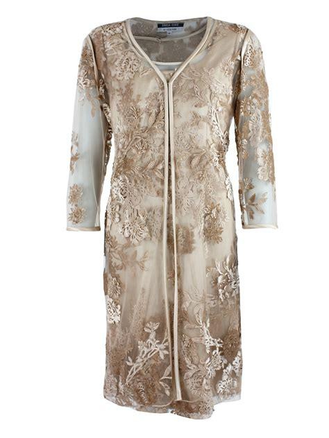 Feminine Dress With Jacket Set 2in1 Dress Jacket dress code gold lace embroidered jacket dress set
