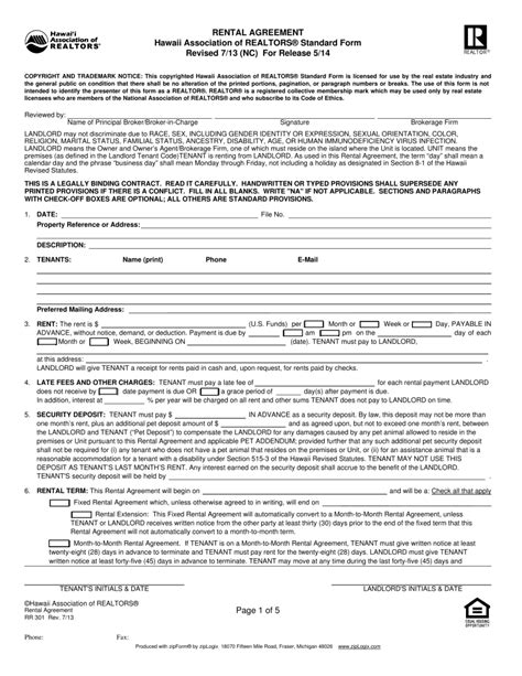 Free Hawaii Association Of Realtors Residential Lease Agreement Template Pdf Eforms Free Free Rental Agreement Template Hawaii