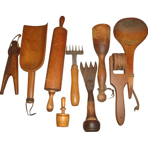 9 vintage wood kitchen tools utensils scoops sold on