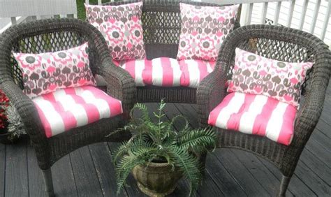 pink floral chair cushions indoor outdoor wicker cushion and pillow 7 pc set